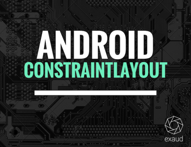Black card with Android ConstrainLayout written on it